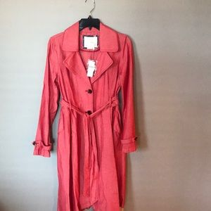 Red Anthropologie trench coat